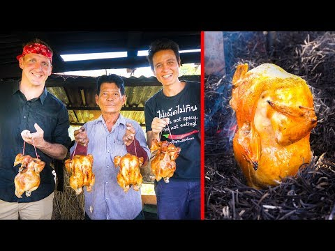 Unique Grilled Chicken - DON'T TRY THIS AT HOME!! with Sonny Side! | ไก่อบฟาง