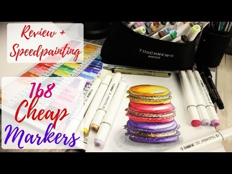 SUPER CHEAP SKETCH MARKERS : REVIEW + SPEEDPAINT / Huge Set of 168 TOUCHNEW Markers from Aliexpress