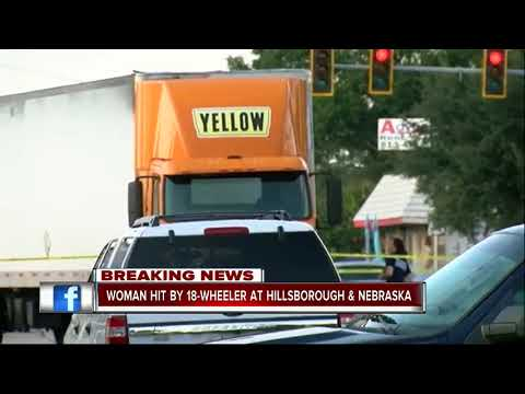 Woman hit by 18-wheeler in Tampa