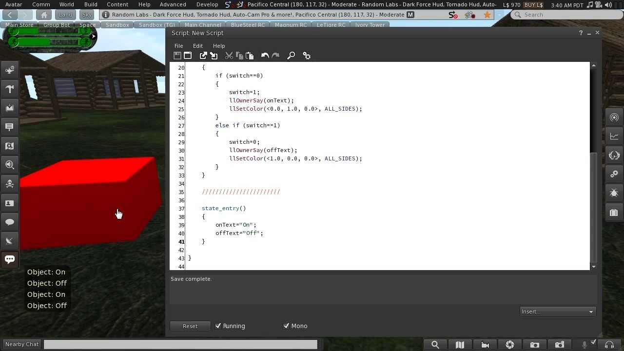 Second Life Scripting: Beginner 02 - Strings, Events & Script Structure