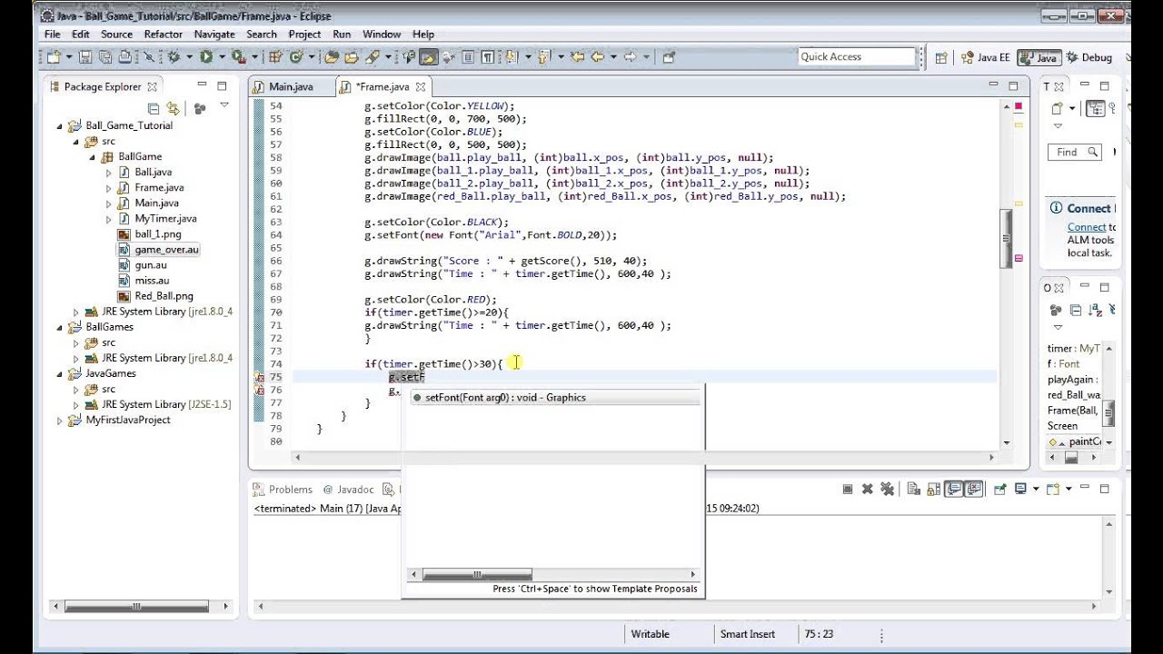 Java sound tutorial image collections any tutorial examples java game tutorials images any tutorial examples java games 14 game over text and sound java baditri Images