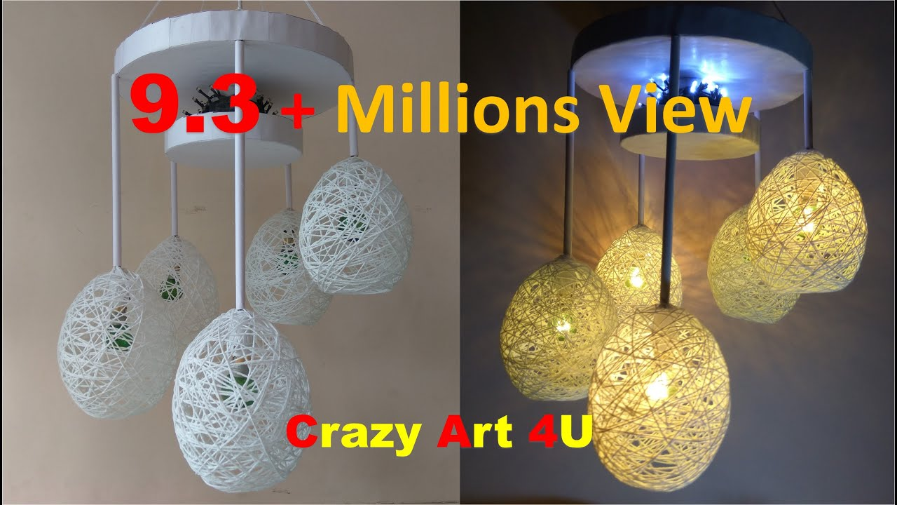 Beautiful Make A Home Made Wrapped Balloon Lamp| Easy Home Made Lamp By Crazy Art 4 U