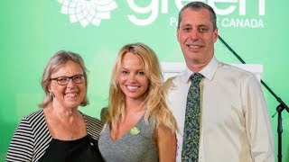 Pamela Anderson campaigns with Green Party candidate