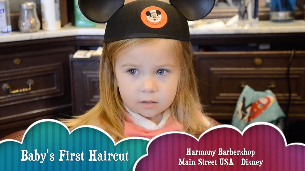 First Haircut At The Harmony Barbershop On Main Street Usa In Disney