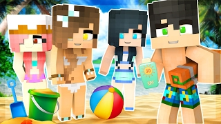 Minecraft - BABIES GO TO THE BEACH!! BUILDING THE BEST SANDCASTLE!!! (Minecraft Roleplay)