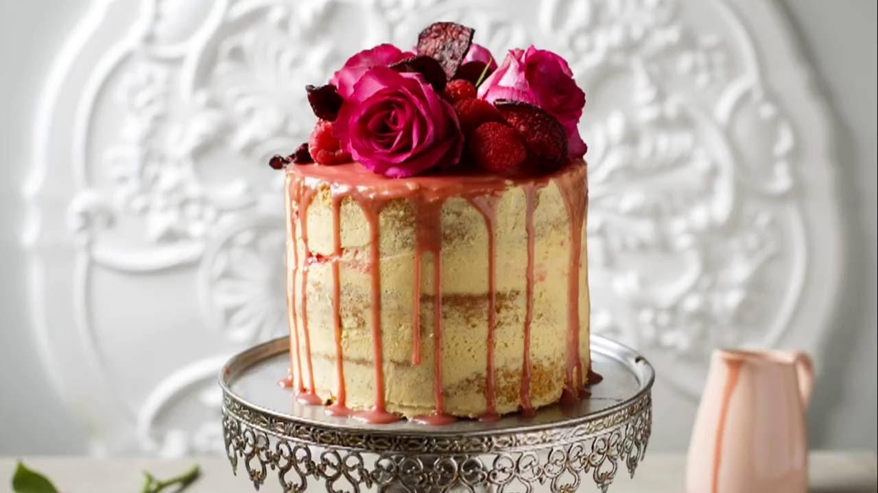 White Chocolate Raspberry Naked Drip Cake - YouTube