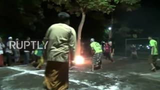 Great balls of fire! Students play FIRE FOOTBALL in heated match