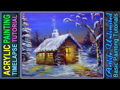 Landscape Winter Season Painting Tutorial with House and Sunset | BASIC ACRYLIC PAINTING TUTORIALS