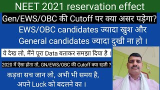 Effect on NEET 2021 cutoff after reservation !! Data के साथ पूरा analysis