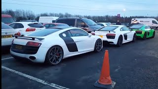 Car park at autosport international 2018 (5 R8s, hurucan spider, 570s, 2017 GTR...)