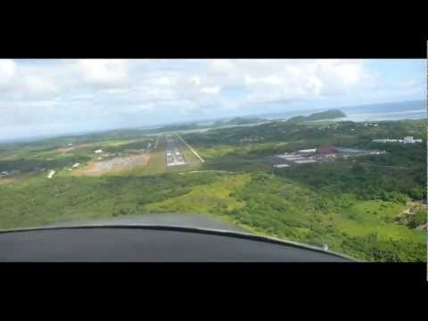Landing at Palau international airport (ROR). Koror. Palau.
