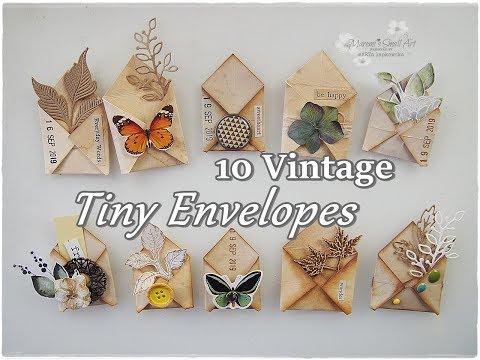 10 Ideas Tiny Vintage Envelopes Paper Embellishments DIY ♡ Maremi's Small Art ♡