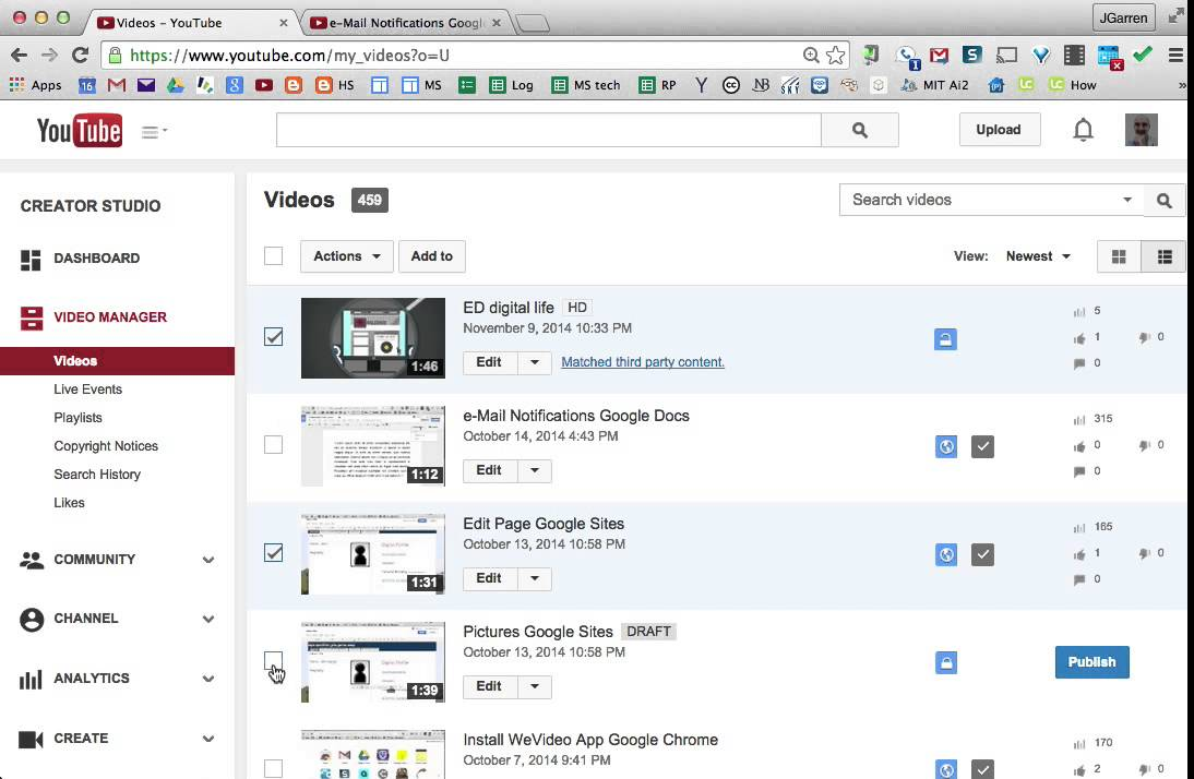 how to delete multiple videos in playlist youtube