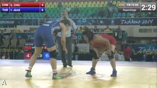 Repechage   Female Wrestling 75 kg   Y ADAR TUR vs Q ZHOU CHN   Tashkent 2014