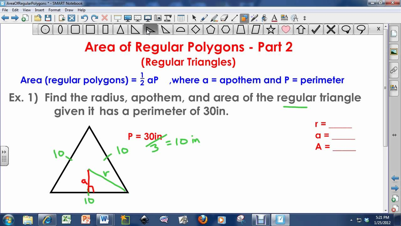 Area Of Regular Polygons  Regular Triangles