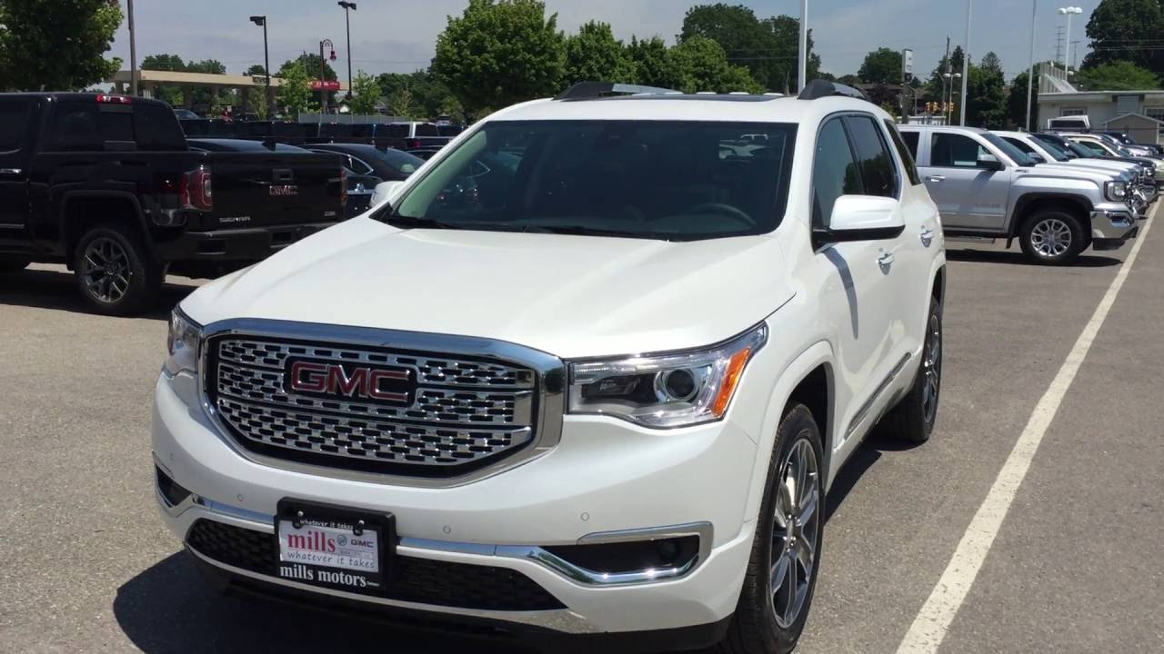 2018 Gmc Terrain Denali White >> 2017 GMC Redesigned Acadia Denali AWD Dual Sunroof White Oshawa ON Stock# 170015 - YouTube