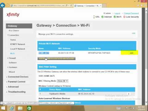 Change a Network Name or Password on a Comcast XB2 Wireless Gateway
