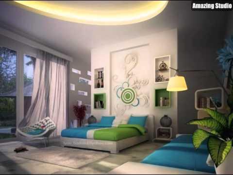 Grün, Blau, Weiß Moderne Schlafzimmer Dekor