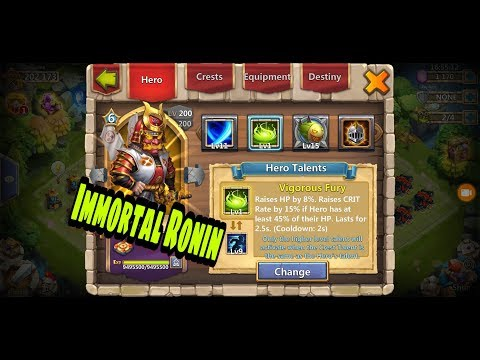 Castle Clash | Immortal Ronin Glitch | New Talent Vigorous Fury