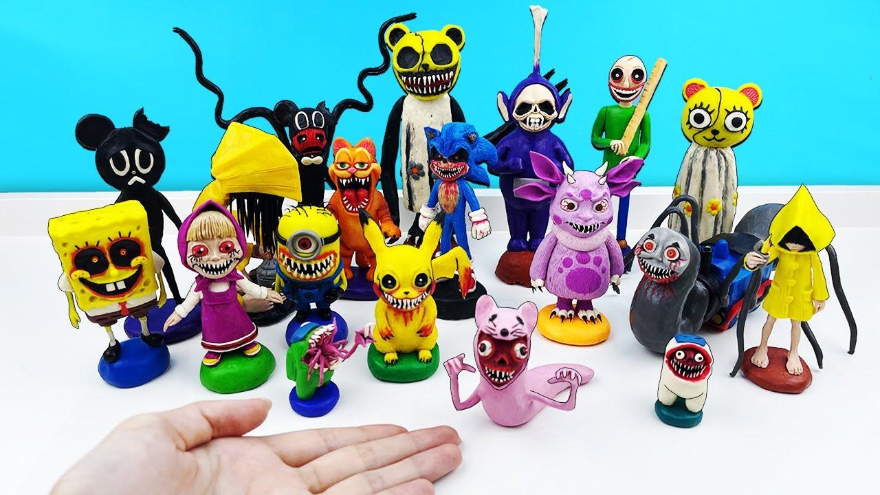 Все МОИ СТРАШНЫЕ ЭКЗЕ персонажи из игры EXE и их истории. Коллекция из пластилина. Фигурки Лепка ОК