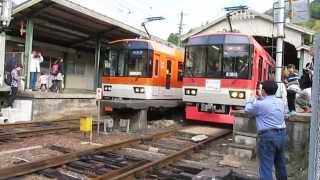 えいでんまつりで運行された臨時列車イベントトレイン「きらら」と比叡山きららの運行で八瀬比叡山口にきららが並ぶカオスな光景!