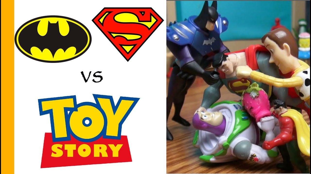 superman batman toys vs woody buzz toy story 4 parody epic on batman birthday cake supermarket