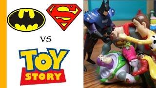 Superman & Batman Toys VS Woody & Buzz! TOY STORY 4 Parody. Epic Birthday Cake Battle for Shopkins!