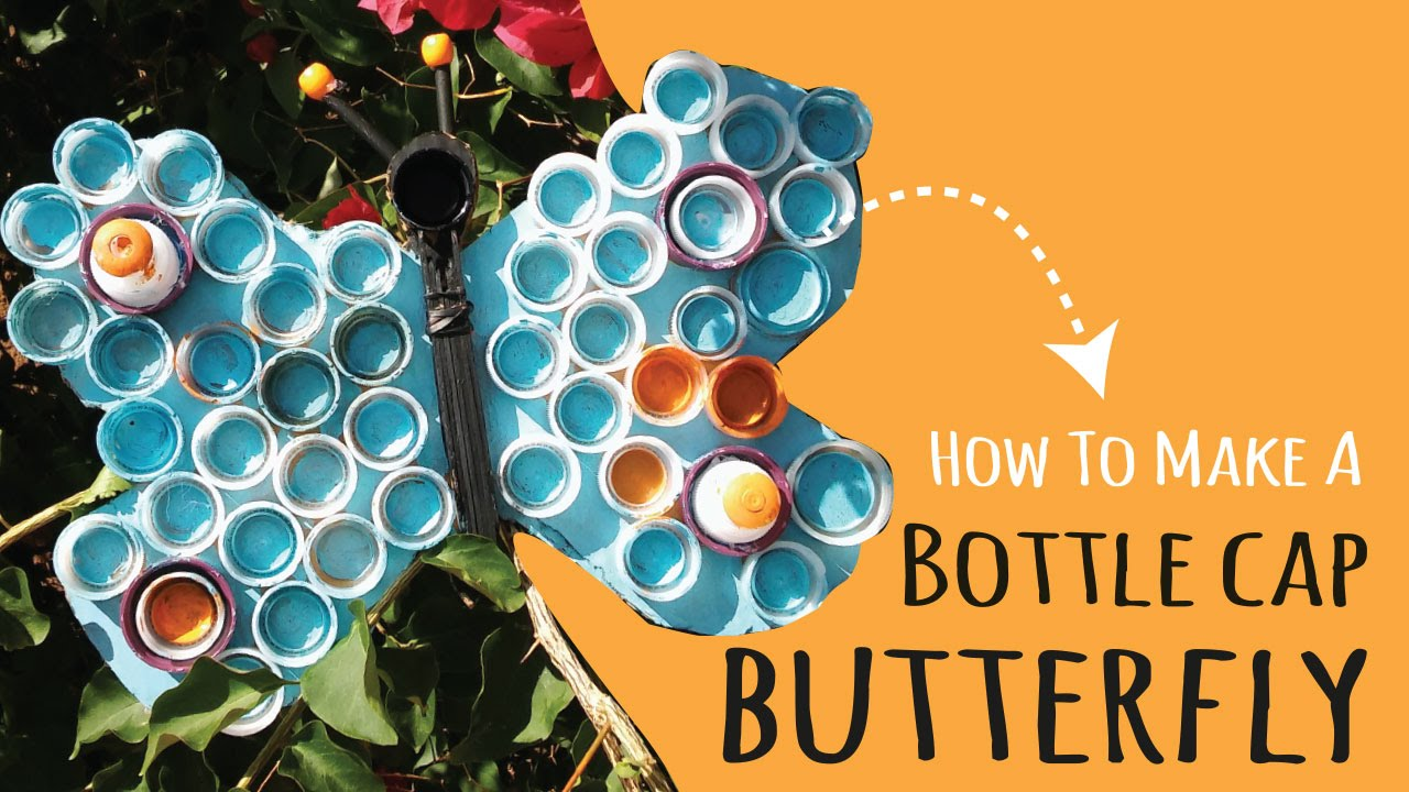 Plastic Bottle Cap Erfly Art Kids Crafts By Three