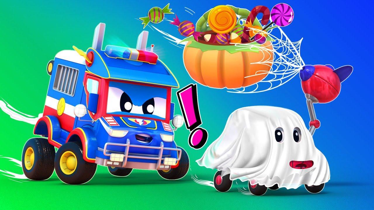 Truk super HALLOWEEN: Truk Ninja Super vs Hantu Seram Kota Mobil - Kartun truk untuk anak-anak
