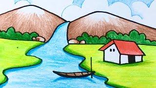 Hướng dẫn vẽ tranh phong cảnh thác nước đơn giản mà đẹp