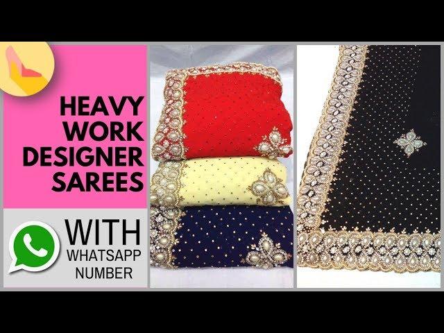 Heavy Border Designer Sarees   Rajasthani Heavy Work Designer Sarees   Heavy Border Party Wear Saree