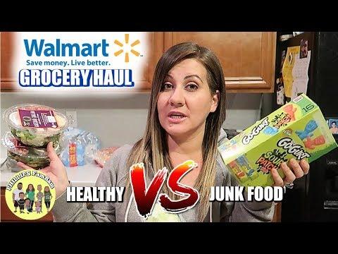 MASSIVE WALMART GROCERY HAUL For KIDS SCHOOL LUNCHES   HEALTHY Vs JUNK FOOD PHILLIPS FamBam HAUL