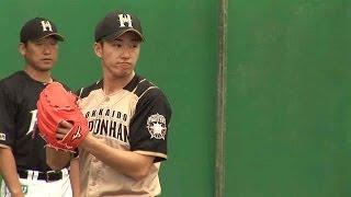 キャンプ2日目、初めてブルペン入りした日本ハム・斎藤佑樹投手。一球投...