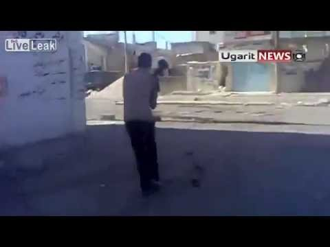 Syria   FSA Youngster destroy  SAA Tank wih his RPG
