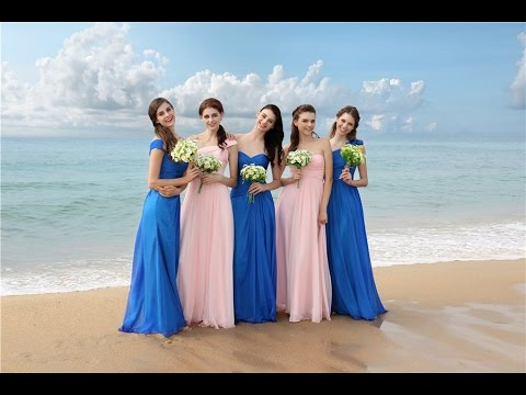 Mixed Blue And Pink Bridesmaid Dresses For A Beach Wedding