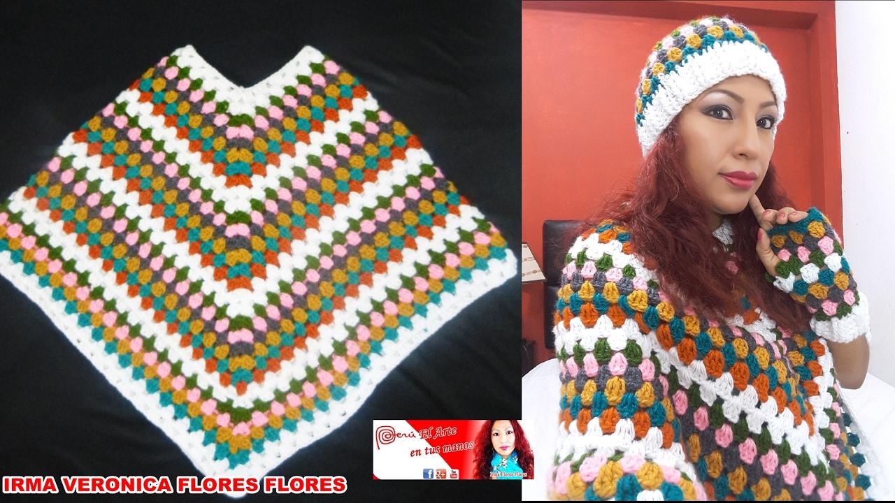 Como tejer este lindo poncho multicolor a crochet y - Como hacer flores de ganchillo ...