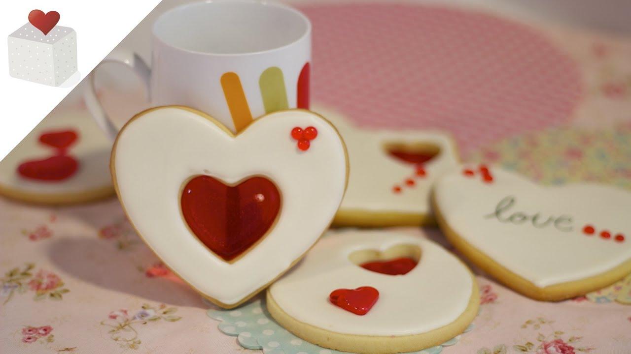 Galletas de San Valent n decoradas con Isomalt
