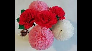 КАК СДЕЛАТЬ ЦВЕТЫ ИЗ САЛФЕТОК// HOW TO MAKE FLOWERS OUT OF PAPER NAPKINS