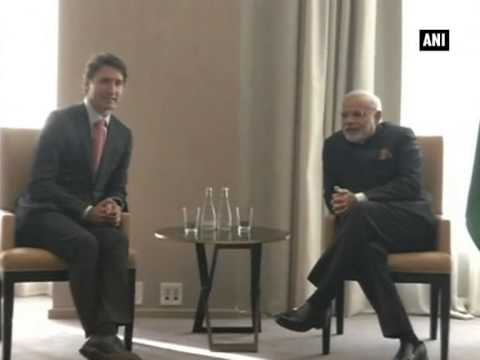Modi meets Justin Trudeau leader of the Liberal Party of Canada