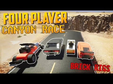 FOUR PLAYER CANYON RACE! - Brick Rigs Multiplayer Free For All Challenge