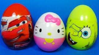 4 surprise eggs disney pixar cars hello kitty spongebob play doh dory eggs surprise mymilliontv