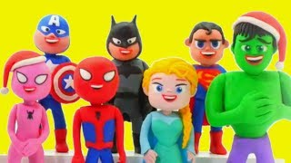 superheroes wish you merry christmas happy new year play doh cartoons stop motion movies