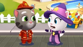 Talking Tom Gold Run Android Gameplay - Fireman Tom VS Witch Angela