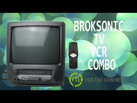 BROKSONIC TV VCR COMBO TUBE TELEVISION WITH A BUILT IN VHS PLAYER VINTAGE ELECTRONICS