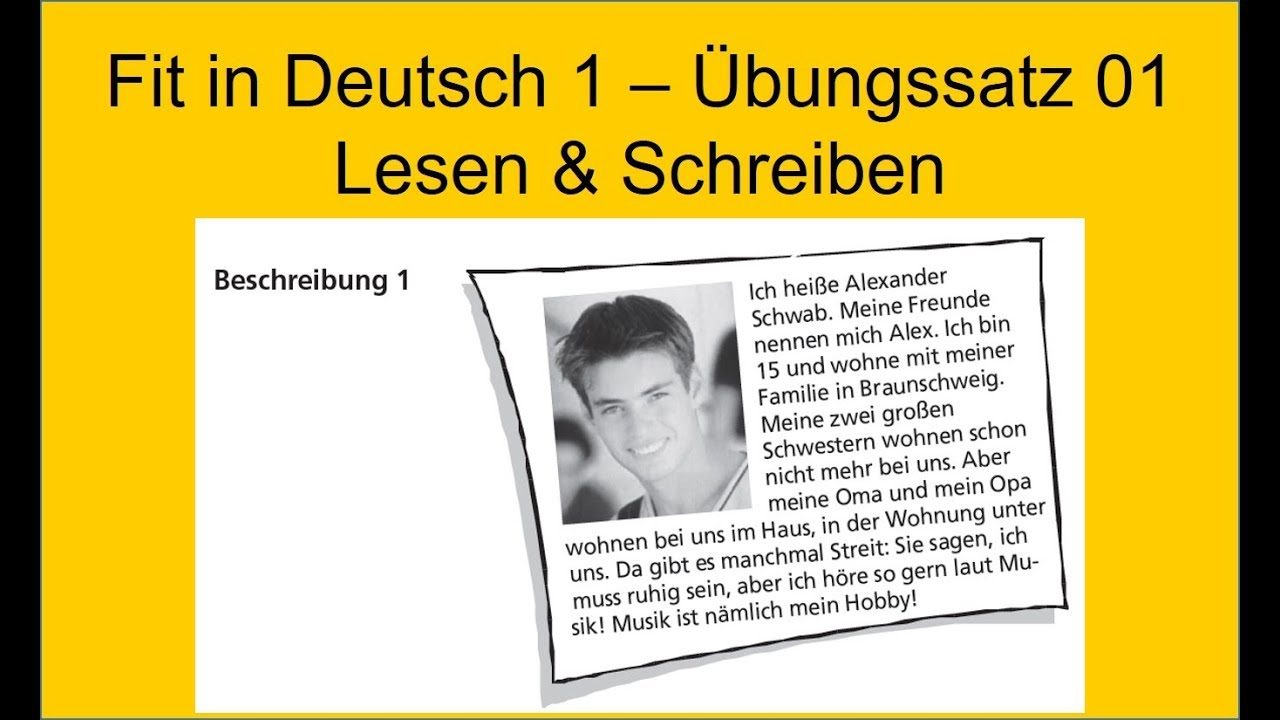 Fit In Deutsch 1 Lesen Schreiben German Reading Exam A1 Youtube