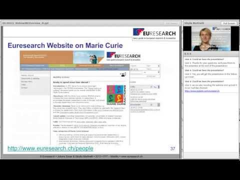 Webinar on the Marie-Curie-Fellowships