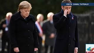 Merkel y Macron develan placa por centenario del fin de 1ra Guerra Mundial