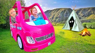 BACKYARD CAMPING!! Adley and Baby Niko ride the Barbie Dream Camper on the ULTIMATE Adventure!