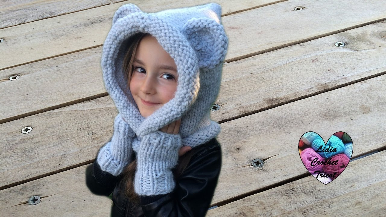 7804db3aa9bb Bonnet Capuche oreilles d ours tricot   Bear hooded beanie knit easy -  YouTube