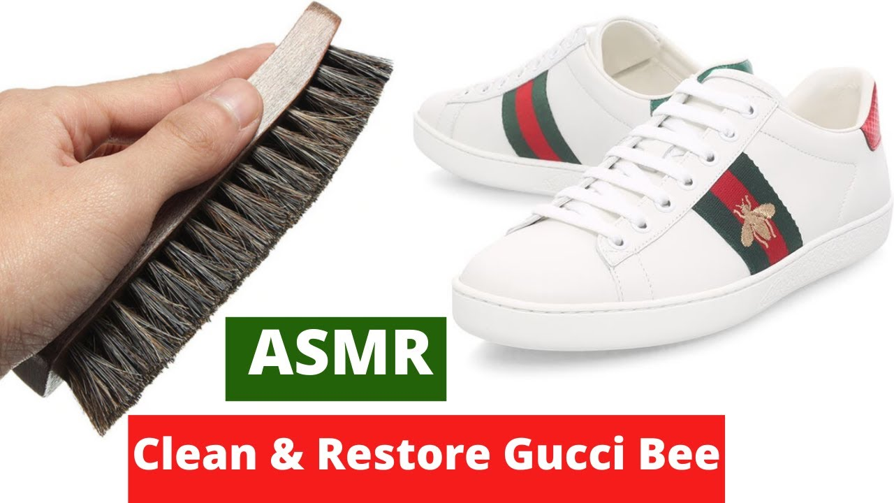 ASMR Clean & Restore Gucci Bee Sneakers l Brush Sound 4k video